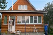 Шлифовка и покраска дачного  дома. Деревня Городок