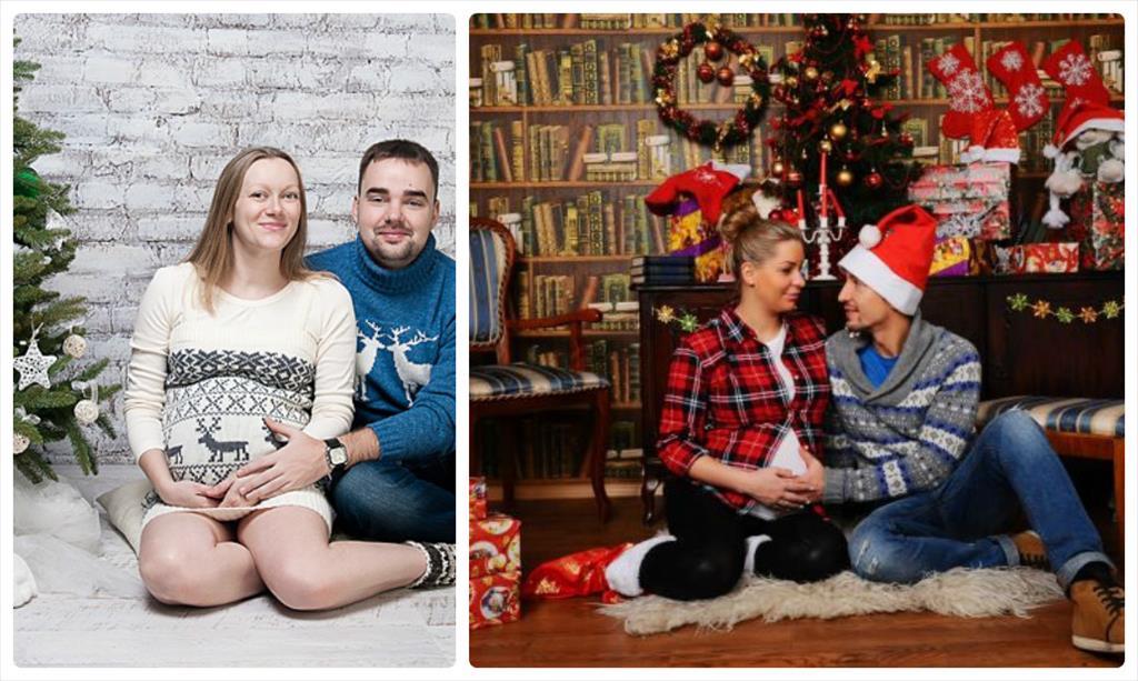 фотосессии беременных в студии с мужем